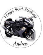 Motor Bike Edible Icing Cake Topper Circle 4.5 inch /11.4cms[Please use the SEND AS A GIFT facility on the checkout page to tell us the wording required on your topper.]