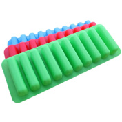 Pingenaneer Water Bottle Ice Tube Tray Ice Cube Tray with Easy Release Push Pop Out Stick Coloured Silicone