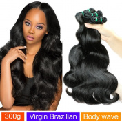 MAOYUAN Hair Virgin Brazilian Hair weave Body Wave 3 Bundles 10A Unprocessed Virgin Brazilian Hair Bundles Human Hair Weave Extensions Natural Black Colour