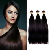 MONIKAHAIR Brazilian Virgin Hair Straight Wave Remy Human Hair 3 Bundles 100 g Weaves 100% Unprocessed Hair Extensions Natural Black Colour