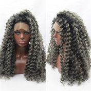 HAIQUAN Fashion Dark Grey Knily Curly Women Hand Tied Lace Frontal Syhthetic Wigs High temperature Fibre Can be Washed 400g/Package