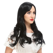 YOPO Wig, 70cm Long Black Wigs for Women with Free Wig Cap & Bobby Pins, Wavy Curly Cosplay Synthetic Wig