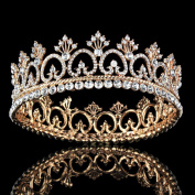 FUMUD Women's Luxury Crystal Tiara Shining Rhinestone Crown for Pageant Wedding Bridal Beauty Contest Prom Party (Full Crown)