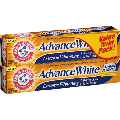 Arm & Hammer Advance White Extreme Whitening Baking Soda and Peroxide Toothpaste, 180ml, Twin Pack