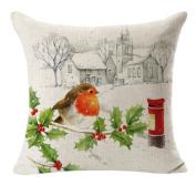 Wensltd 46cm Christmas Linen Square Throw Flax Pillow Case Decorative Cushion Pillow Cover