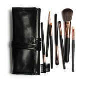 Rioa 7Pcs Professional Travel Cosmetic Makeup Make Up Brushes Set with Pouch Bag Case Purple