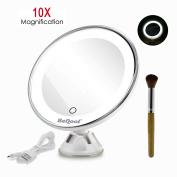 Lighted Vanity Makeup Mirror, BEQOOL 10X Magnification Travel Cosmetic Mirror Touch Activated Dimmable LED Suction Bathroom Mirror Daylight Colour Illuminated 360 Degrees Rotation and Battery Operated