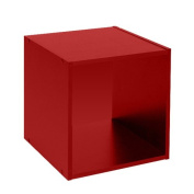 Wooden Bookcase Free Standing Cube Shelving Display Storage Wood Book Shelves - 1 Tier - Red