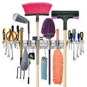 Utility Wall-Mounted Mop Broom Holders, Tool Rack for Home, Garden, Garage, Storage & Organisation Hangers with 6 Positions, 6 Hooks & 2-Tool Platforms