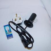 UK Salt Lamp Replacement Electrical Lamp Light Fittings 2 Metal Clip Wire - Spare Black Cable UK 3Pin Plug+Bulb