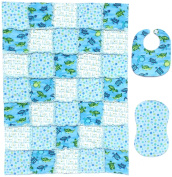 Adorable SEA TURTLE Print with Coordinating Blue and Green Accent Fabrics Baby Rag Quilt with Matching Burp Cloth and Bib