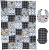 "Disney's MICKEY MOUSE ""Oh Boy"" Print with Coordinating Grey and Black Accent Fabrics Baby Rag Quilt with Matching Burp Cloth and Bib"