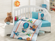 Bekata My Flying Friends, Baby Duvet Cover Set, 100% Cotton, Made in Turkey, 4 Pieces, Blue