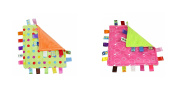J & C Family Owned Multi Colour Dots and Pink Bubbles Taggie Style Super Soft Lovey Baby Blanket 2 Pack
