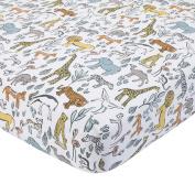 DwellStudio Safari Animal Print Fitted Crib Sheet, Grey/Yellow/Orange