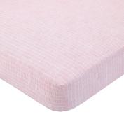 DwellStudio Boheme Dash Print Fitted Crib Sheet, Peach