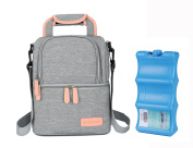 V-Coool Premium Breastmilk Cooler Bag with Ice Pack Set,Waterproof Double Layers for Breastpump Milk Bottles,Backpack Shoulder Tote Bag for Daycare Lunch Pinic Travel,Grey