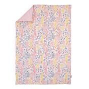 DwellStudio Boheme Peacock/Floral Print Comforter, Peach/Gold/Grey