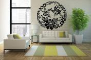Wall Vinyl Sticker Decals Mural Room Design Decor Art Pattern Flower Butterfly Leaves Round Modern Ornament mi640