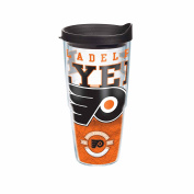 Tervis NHL Philadelphia Flyers Core Wrap Tumbler with Black Travel Lid, 710ml, Clear