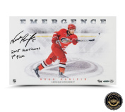 "Noah Hanifin Autographed/Signed ""Emergence"" 11x17 Photo with ""2015 Hurricanes First Pick"" Inscription"