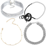 Tpocean 4 PCS Gold Silver Beaded Curb Chain Diamonds Rhinestone Black Leather Lace-up Charming Choker Necklaces for Teen Girls Women