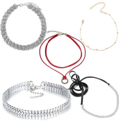 Tpocean 5 PCS Silver Gold Beaded Curb Chain Diamonds Rhinestone Black Leather Red Velvet Lace-up Charming Choker Necklaces for Teen Girls Women