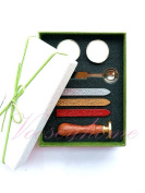 Vooseyhome The Heart Wax Seal Stamp Gift Kit - Gold/Red/Silver Wax Sticks Tea Candle & Melting Spoon-Ideal Gift Set Collection