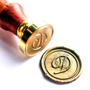 Vooseyhome Initial Letter Alphabet D Wax Seal Stamp with Rosewood Handle