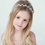 Think Pink Bows Beauty Dream Bridal & Flower Girl Wedding Rhinestone Bling Headband, White