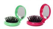 LOUISE MAELYS 2pcs Mix Colour Round Folding Pocket Hair Brush Mini Pop-up Hair Comb with Makeup Mirror