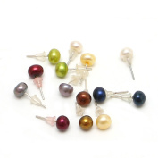 Niceskin Round Pearl Bead Earring for Women, 7 Pairs, Imitation Pearl
