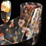 Orange Flower Pattern Nail Art Foil Vine Flowers Nail Decals Decoration Roll in Manicure Jar 1 metre GL17