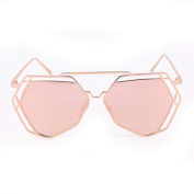 Mchoice Twin-Beams Geometry Design Women Metal Frame Mirror Sunglasses Cat Eye Glasses