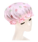 Women Sexy Lips Printed Waterproof Shower Cap Double Layer Bathing Cap Elastic Band Spa Shower Hat