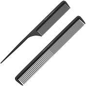 """Styling Comb and Tail Comb Combo Pack - Professional 8.75"""" Black Carbon Fibre, Anti Static Chemical And Heat Resistant Combs For All Hair Types - By Bardeau Essentials"""
