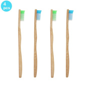SoniFox 4Pcs Bamboo Toothbrush for Adult Eco-Friendly biodegradable Bamboo Handles and BPA-Free Nylon Bristles For Natural Dental Green and Blue Colour