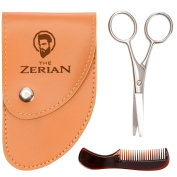 THE ZERIAN Beard & Moustache Scissors With Comb For Precise Facial Hair Trimming -Beards, Moustache & Eyebrows - Stainless Steel