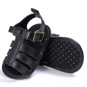 SCASTOE Toddler Baby Girl Boy Soft Sole Anti Slip Strap Sandals with bowknot -Black