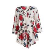 SCASTOE Womens Deep V-neck Beach Boho Floral Print Long Sleeve Romper Jumpsuit Tie Waist with Ruffle