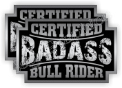 2x Badass BULL RIDER Rodeo Helmet Stickers | Bad Ass Motorcycle Hard Hat Safety Decals | Cowboy Hat Labels Western Belt Buckle Roping Rodeos