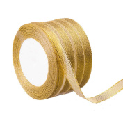 Feyarl 1cm Wide by 4 rolls Premium Glitter Metallic Sparkle Ribbon for Crafters, Wedding, Holiday, Home Decoration, Gift Wrap, Card Making, Hair Bows, Floral Projects