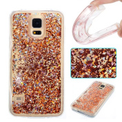 Galaxy S5 Case, ARSUE Cool Moving Bling Glitter Sparkle Design Printed Liquid Quicksand Transparent Soft Case for Samsung Galaxy S5