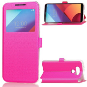 LG G6 Case,ARSUE Window View Ultra Slim Luxury PU Leather Wallet Flip Protective Case Cover with Card Slots and Kickstand for LG G6 (2017) - Hot pink