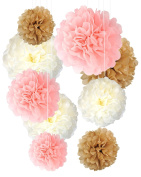 TISSUE POM POM Decorations LARGE Paper Flower 9 Pcs 36cm 30cm 25cm Inch Pink Gold Ivory Variety Indoor Outdoor Bridal Anniversary Baby Shower Nursery Child Room Birthday Holidays Weddings Sweet Sixteen