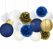 Sopeace White Navy Blue Gold 20cm 25cm Tissue Paper Pom Pom Paper Flowers Paper Honeycomb Paper Lanterns for Navy Blue Themed Party,Party Decoration Bridal Shower Decor Baby Shower Decoration
