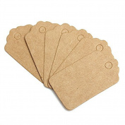 HugeStore 200 Pcs Mini 5X3cm Kraft Paper Tag Gift Tag Blank for Wedding Favour Cards