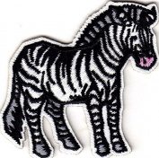 ZEBRA BABY - JUNGLE - ZOO ANIMAL - IRON ON EMBROIDERED PATCH - WILD ANIMALS
