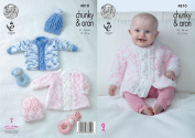 King Cole Baby Chunky with Aran Knitting Pattern Cabled Detail Coat Sweater & Hats