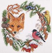 Fox and robin cross stitch kits, 14ct, Egyptian cotton thread 162x152 stitch,39x38cm cross stitch kit